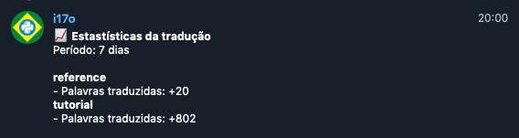 Mensagem do bot no Telegram com estatísticas